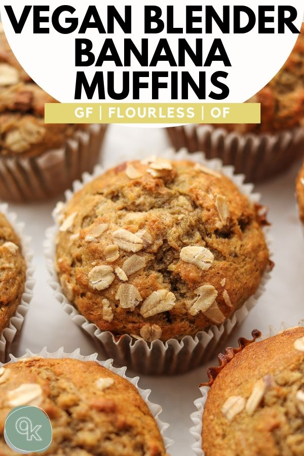 vegan banana  blender muffins pinterest graphic