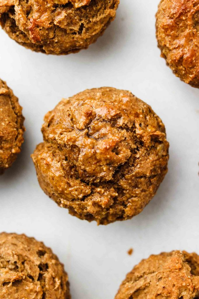 vegan banana protein muffins top shot