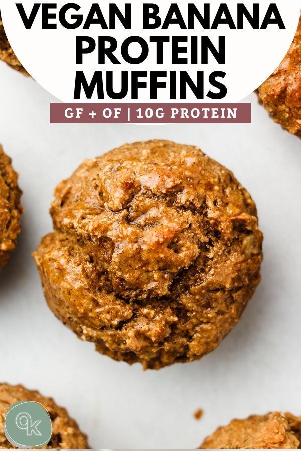 vegan guten free banana protein muffins pinterest graphic