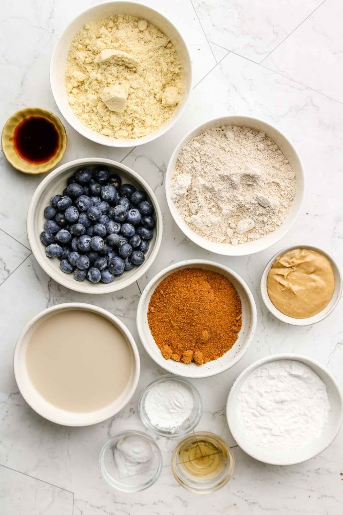 ingredients for blueberry oatmeal muffins