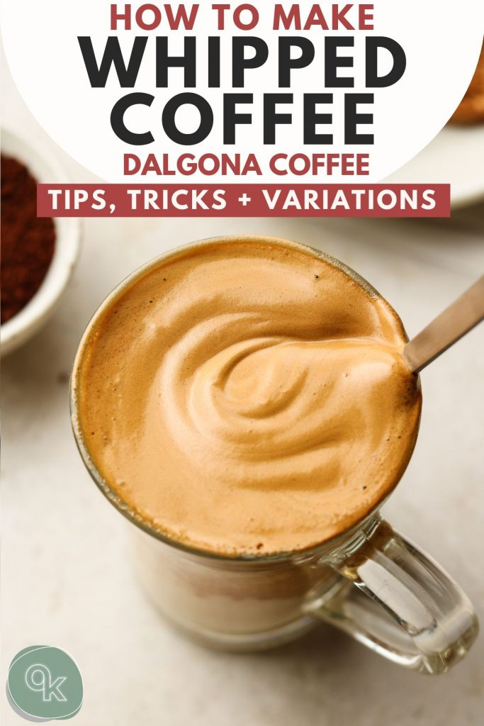 dalgona coffee in a cup recipe graphic for pinterest
