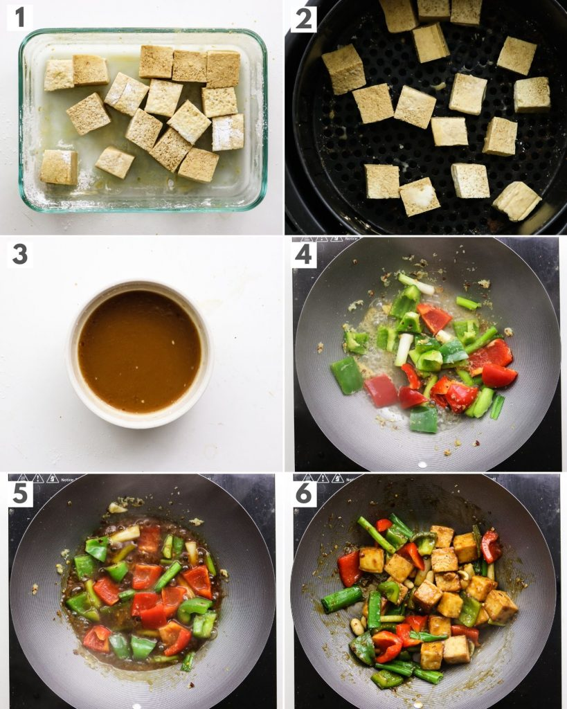 step by step photos of how to make kung pao tofu