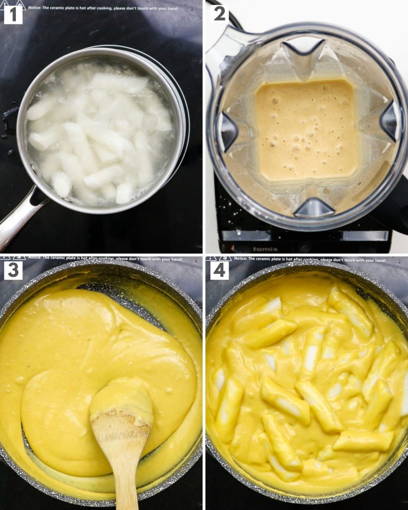 step by step pictures of making cheese tteokbokki