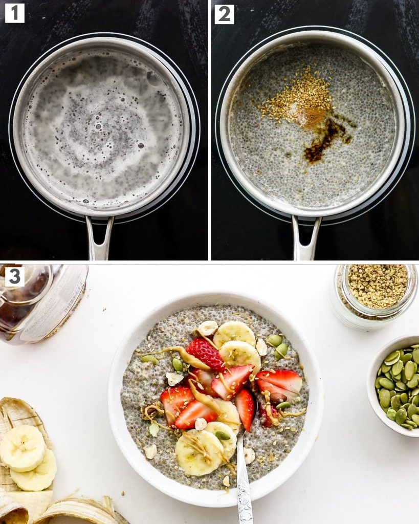 step by step how to make warm chia seed pudding