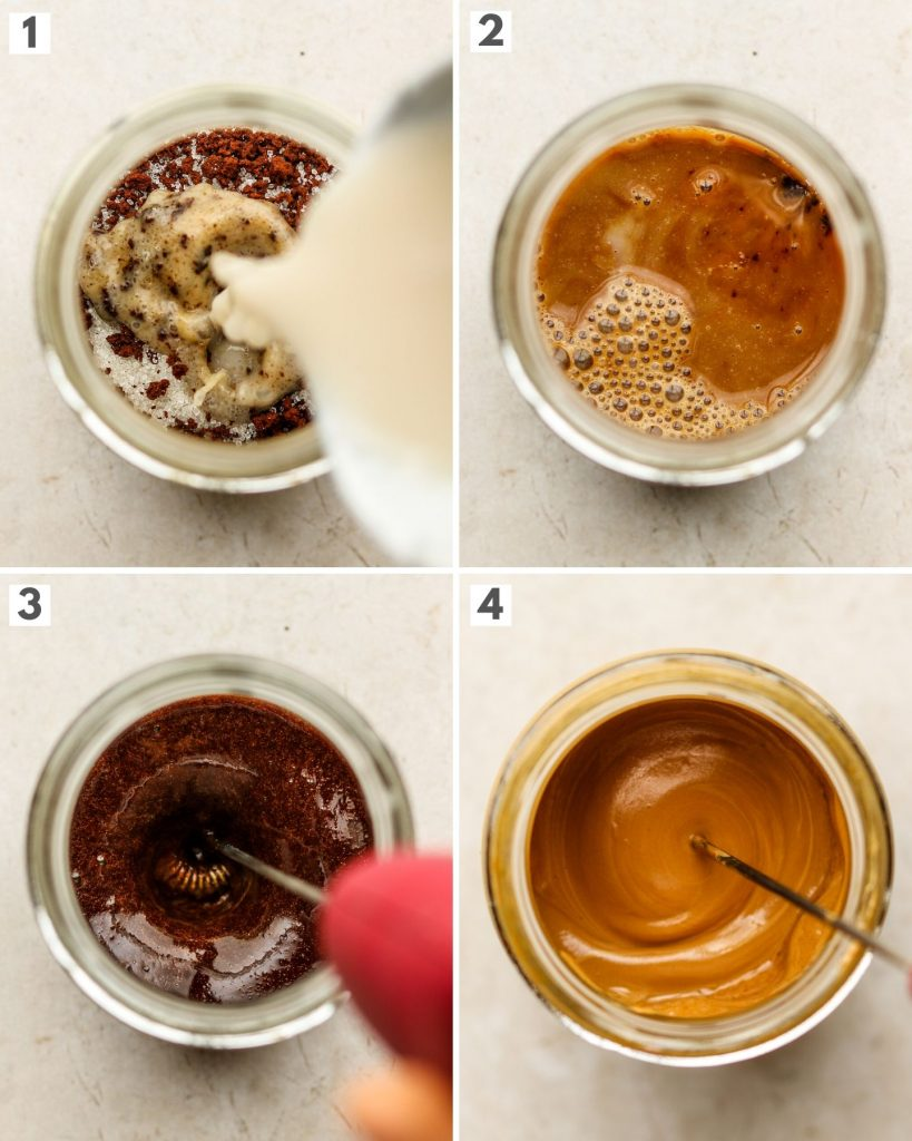 step by step how to make whipped coffee using a hand frother