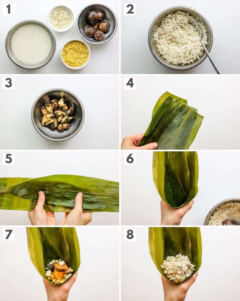 step by step photos how to make zongzi