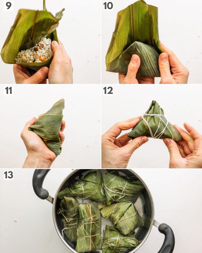 step by step how to wrap zongzi