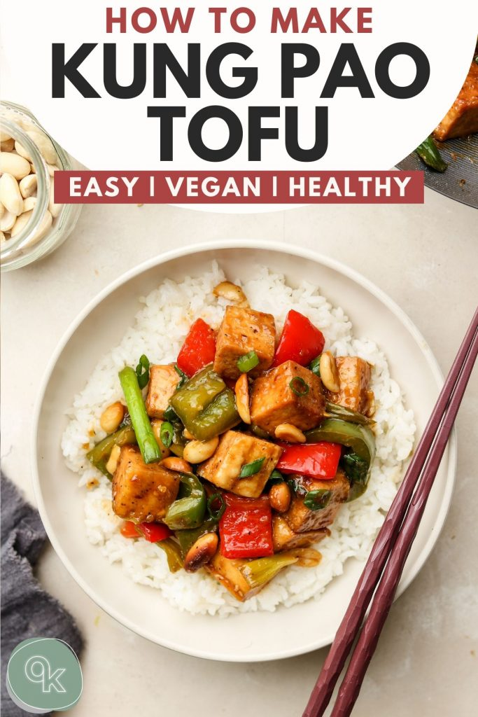 kung pao tofu recipe pinterest graphic