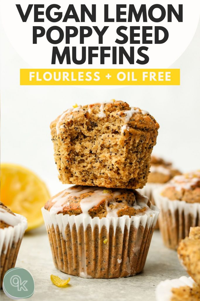 vegan lemon poppy seed muffin recipe pinterest graphic with text