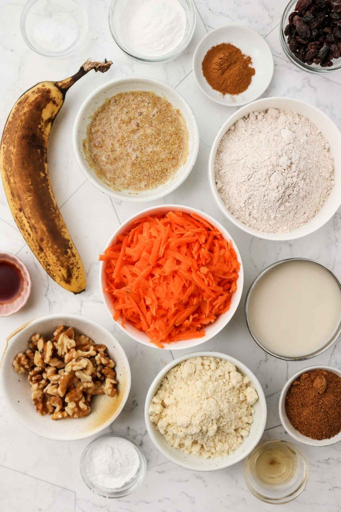 ingredients for carrot cake muffins laid out