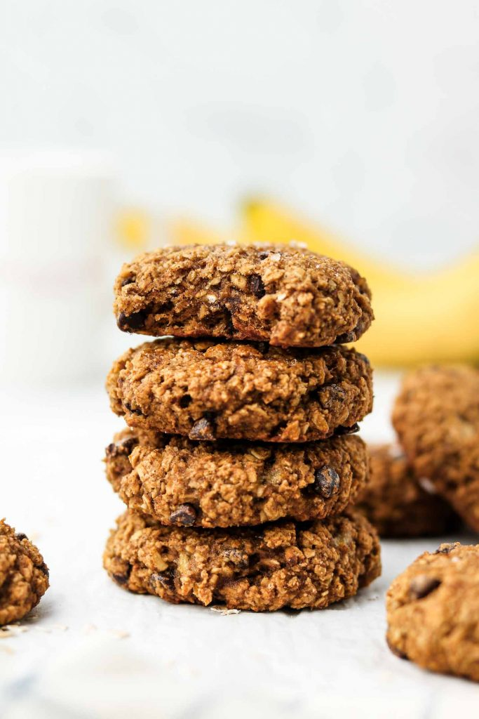 chocolate chip banana oatmeal cookies stacked