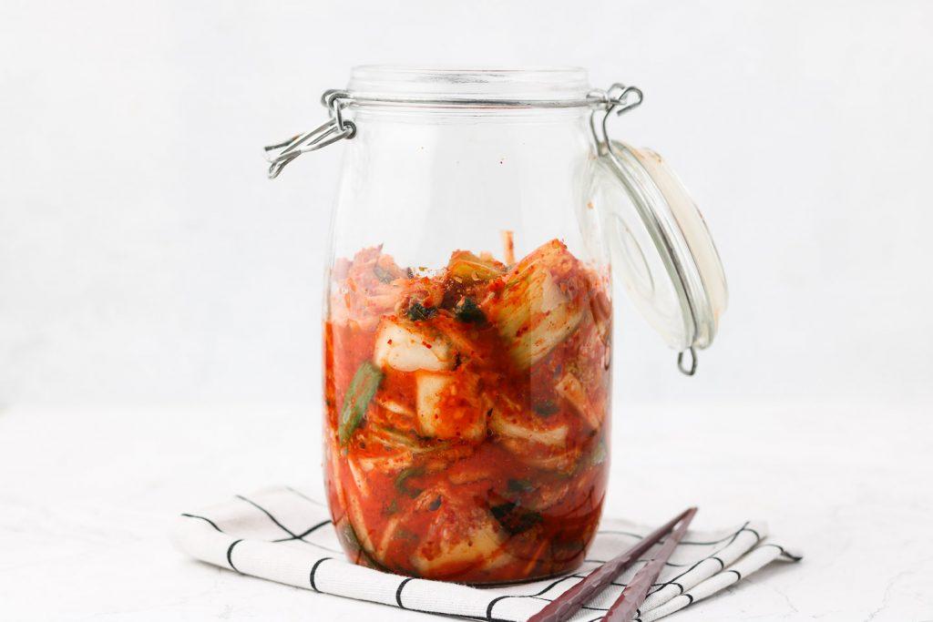 vegan kimchi in a canning jar