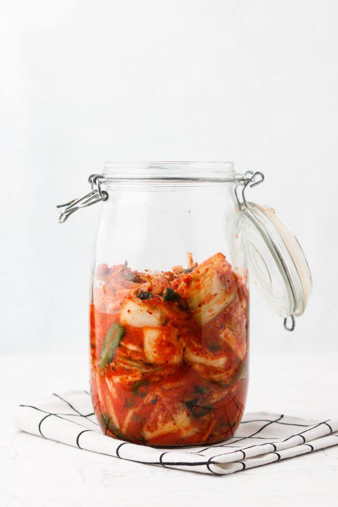 storing vegan kimchi in canning jar