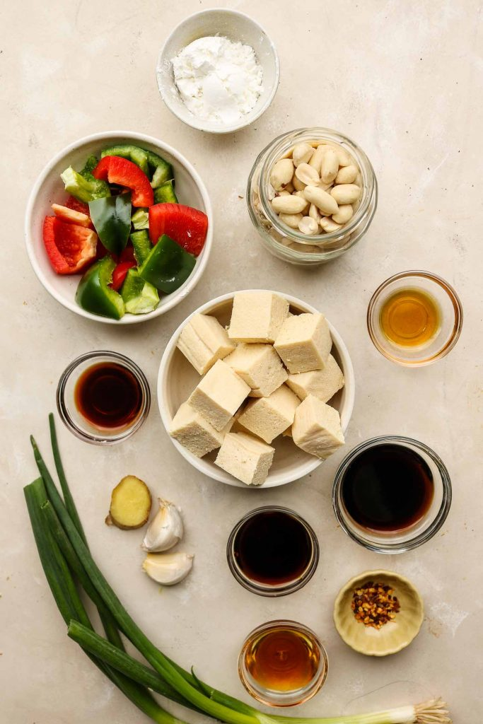 kung pao tofu ingredients on a brown marble countertop