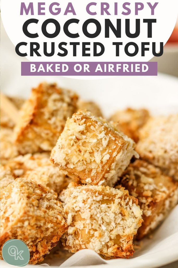close up of baked tofu pinterest graphic
