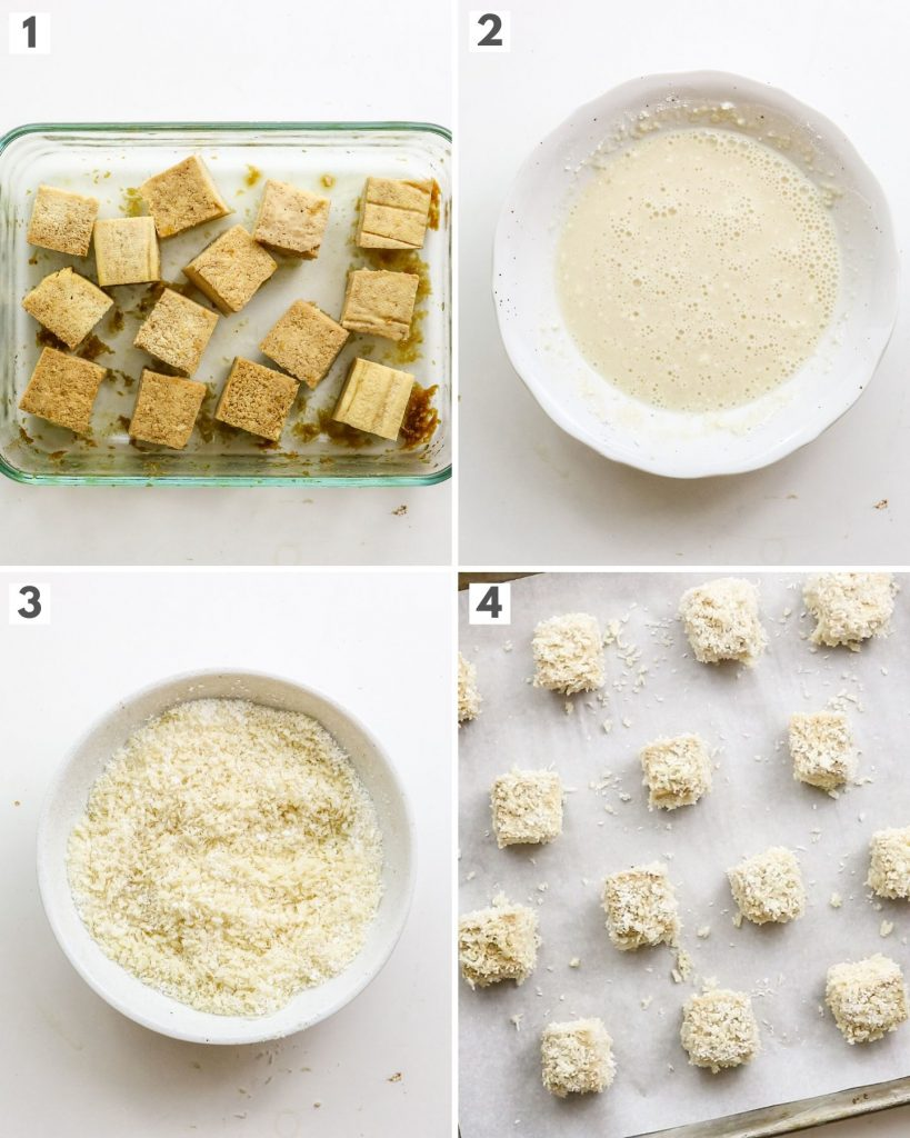 step by step photos of how to bread and bake tofu