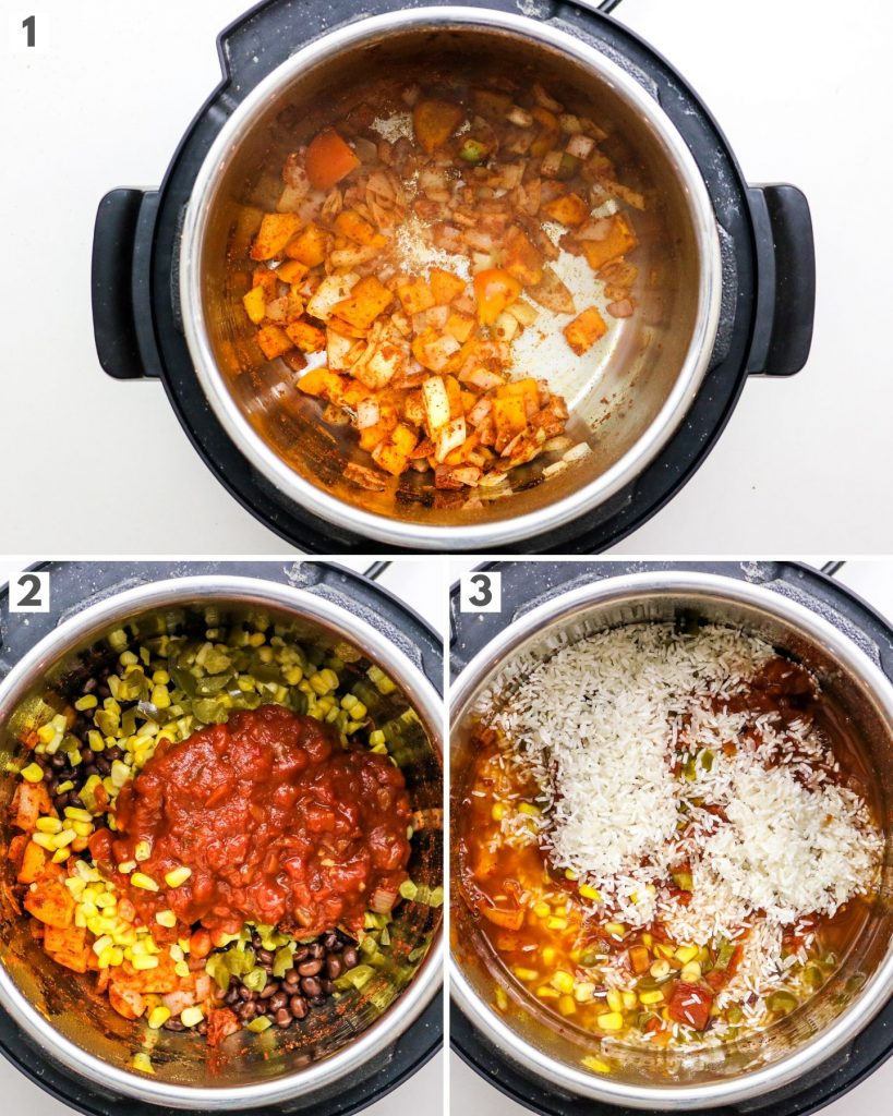 burrito bowl ingredients in an instant pot with step by step directions