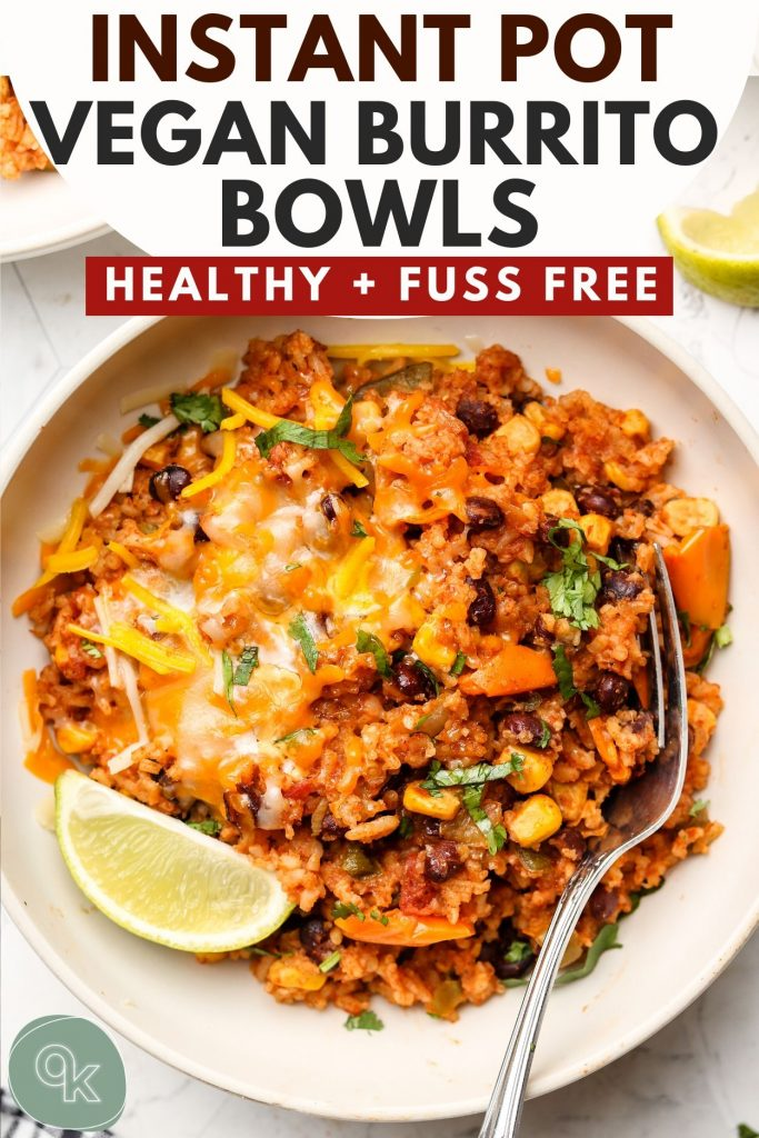 vegan instant pot burrito bowl recipe pinterest graphic