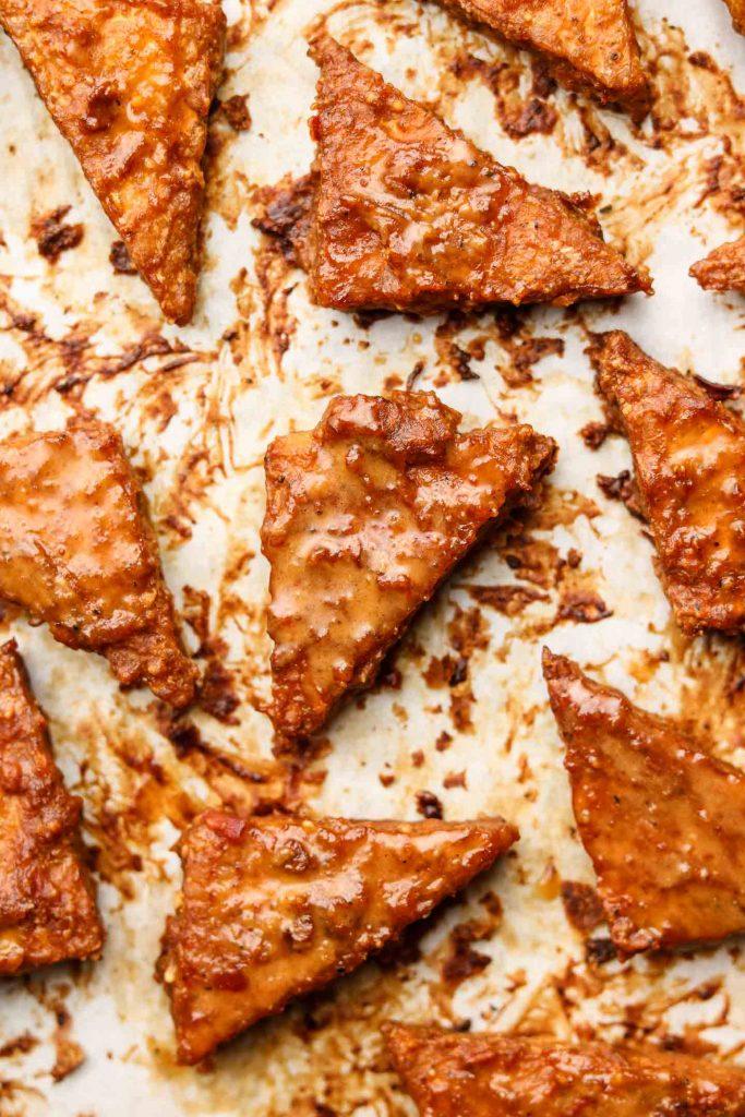 peanut baked tempeh on baking tray