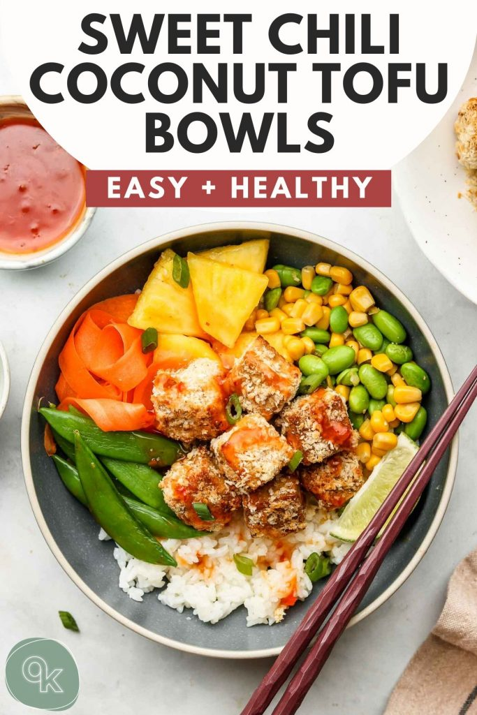 crispy tofu with sweet chili sauce rice bowls pinterest graphic