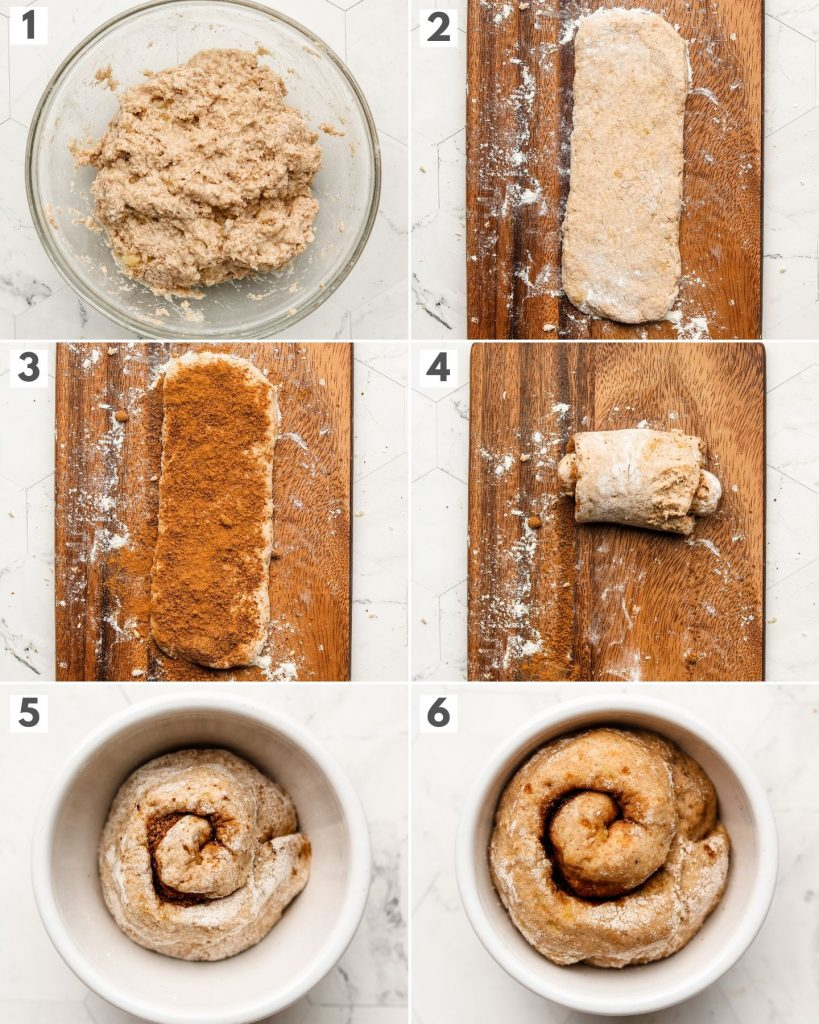 step by step photos of how to make cinnamon roll in a mug