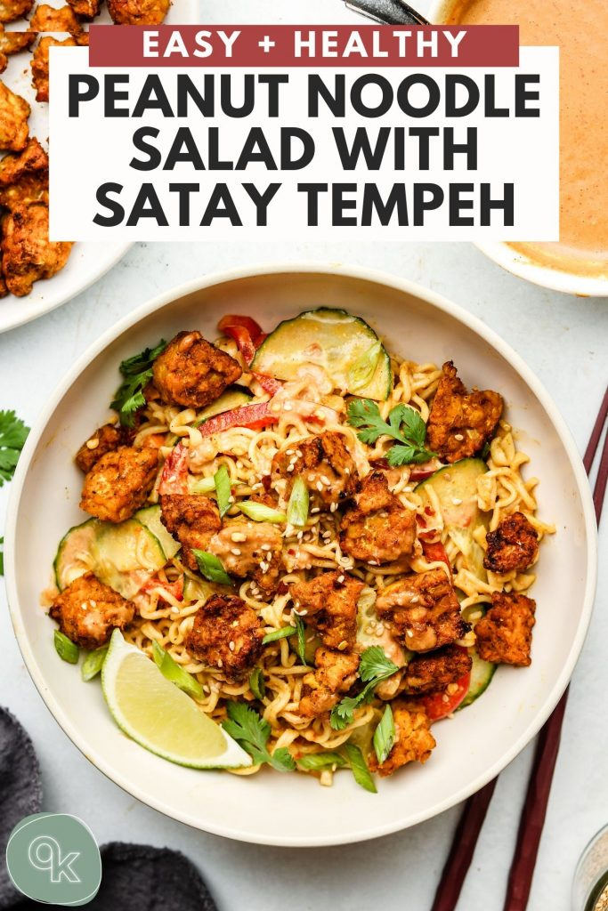 ramen noodle salad with peanut sauce and crispy baked tempeh recipe pinterest graphic