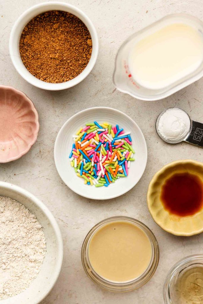 funfetti mug cake ingredients on a tile