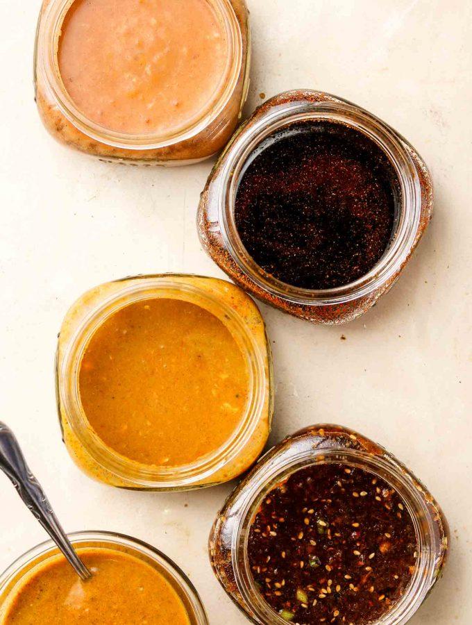 5 tempeh marinades in a mason jar