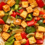 tofu bell pepper stir fry in a large pan