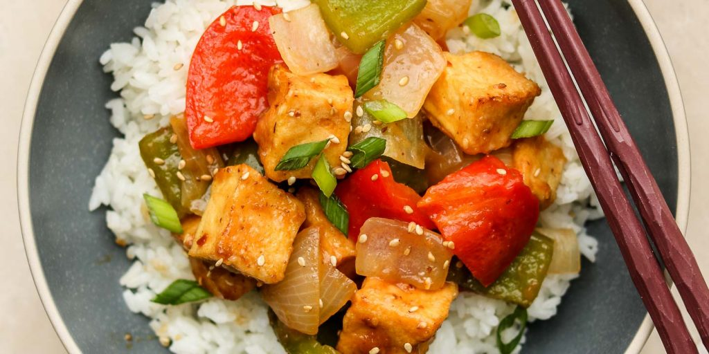sweet and sour tofu over rice
