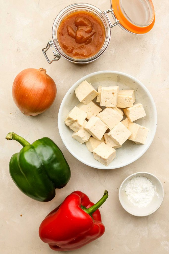 sweet and sour tofu recipe ingredients on a marble top
