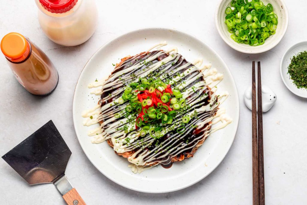 okonomiyaki on a white plate