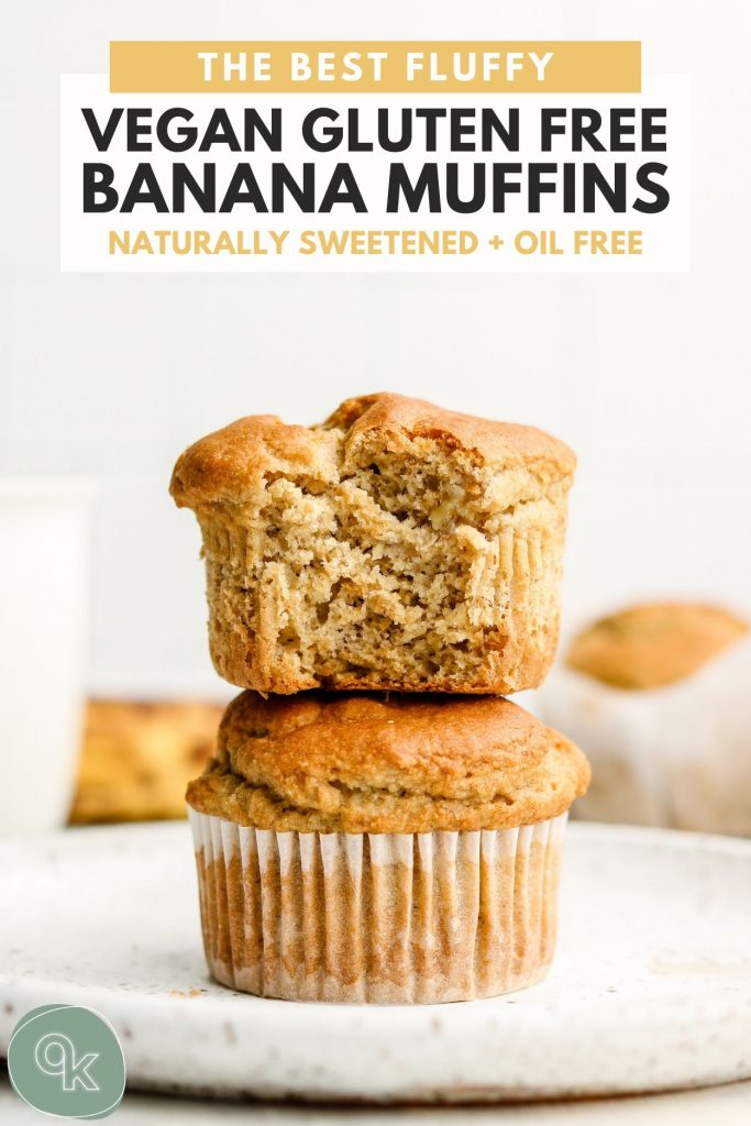 gluten free banana muffins stack with a bite taken out of the top muffin