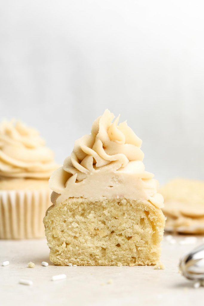 cross section of gluten free vanilla cupcakes
