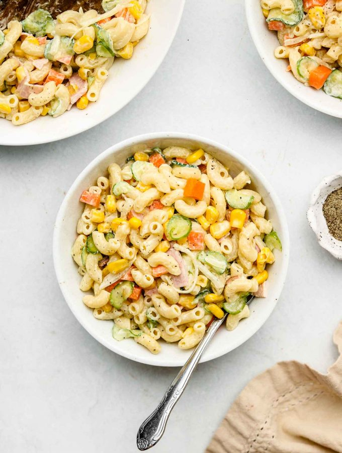 japanese macaroni pasta salad in a white bowl dressed in kewpie mayonnaise