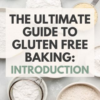 gluten free flours in bowls with text overlay
