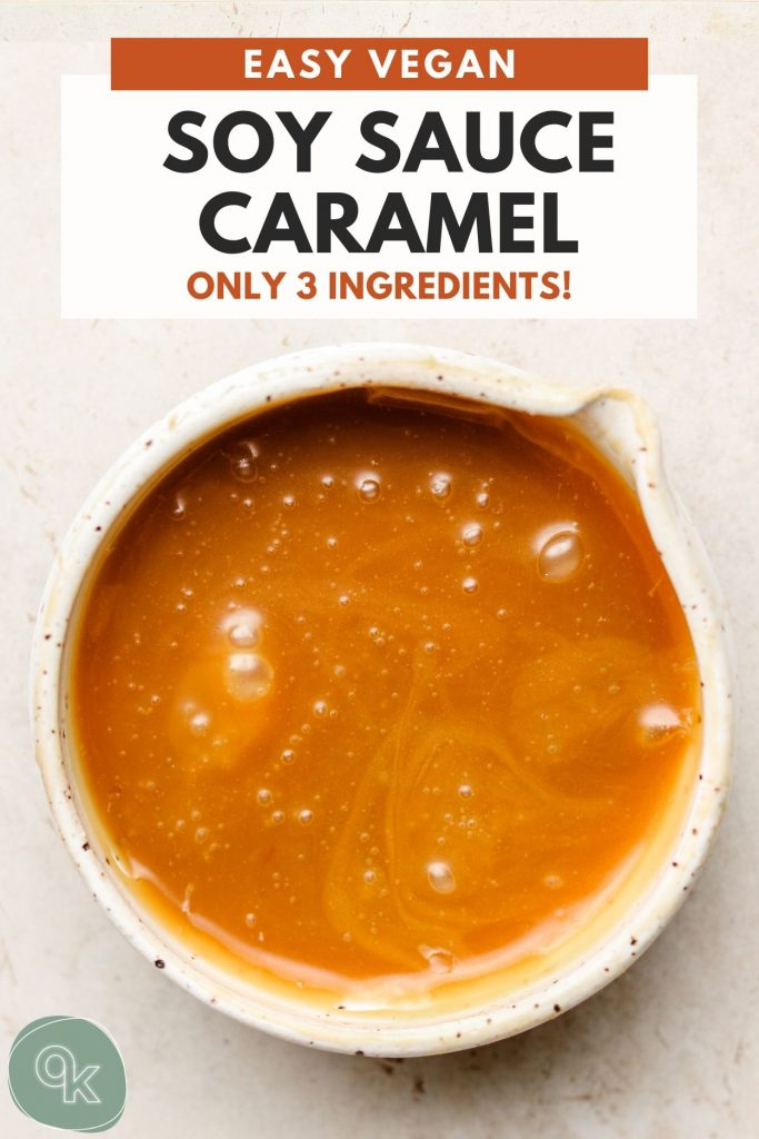 soy sauce caramel in a white speckled pour bowl
