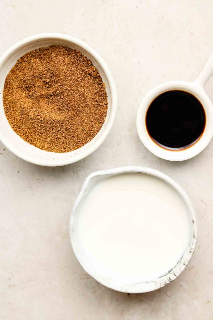 vegan caramel ingredients in white bowls
