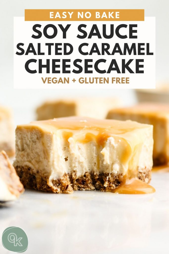 vegan no bake cheesecake with salted caramel sauce on top and a bite taken out with a fork