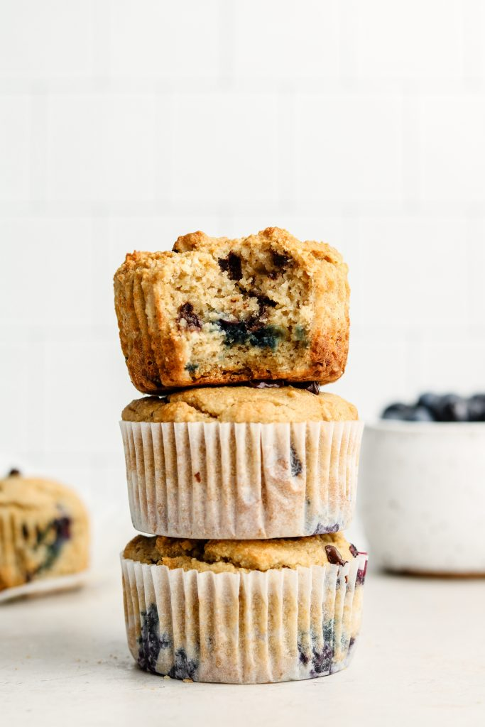 3 stack of gluten free blueberry chocolate chip muffins