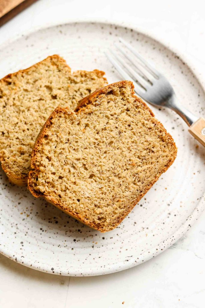 gluten free banana bread on a white plate
