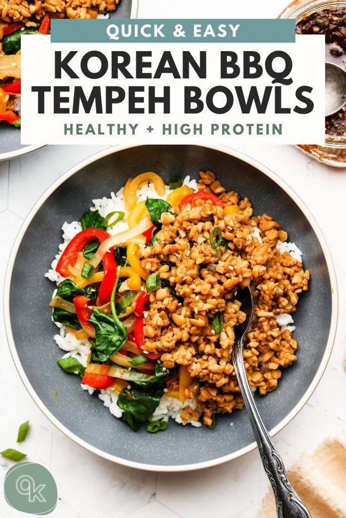 tempeh beef bowls over rice in a blue bowl with pinterest text overlay