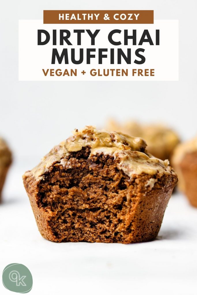 dirty chai muffins on a marble top with a bite taken out of it and pinterest text on top