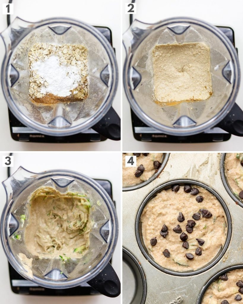 step by step how to make muffins in a blender