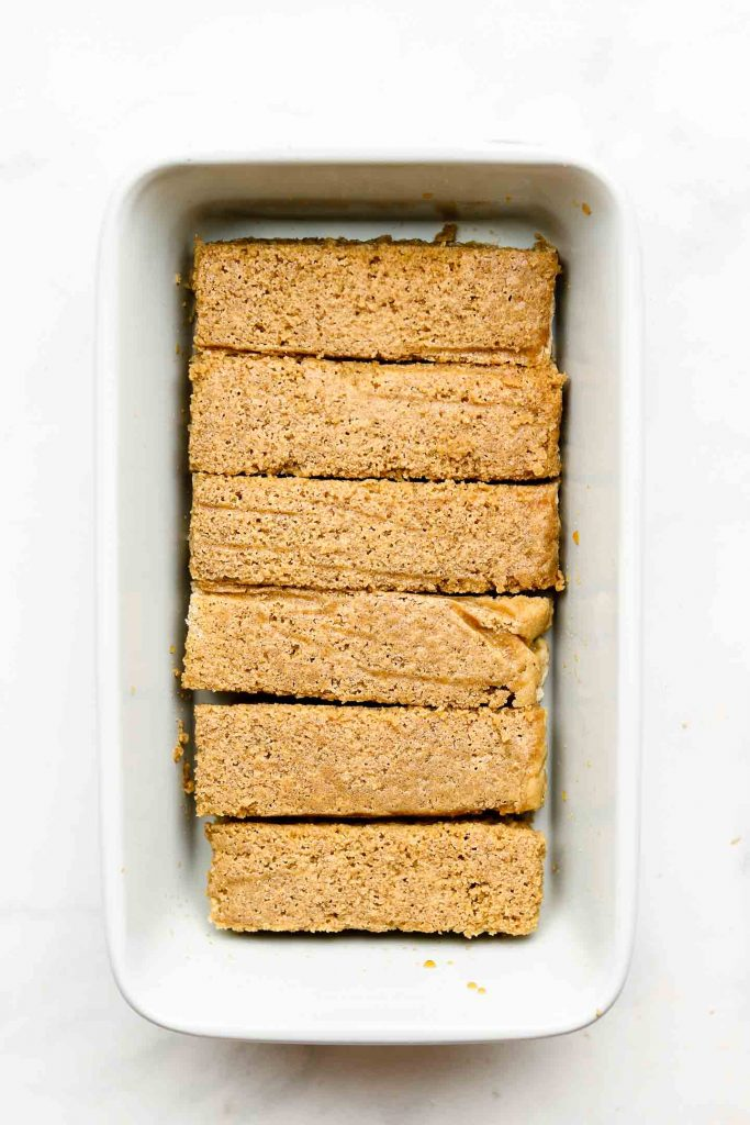 homemade eggless lady fingers in a loaf pan