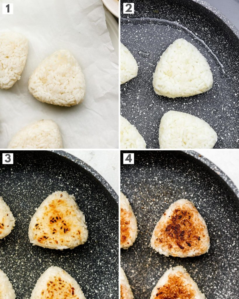 step by step how to make grilled japanese rice balls