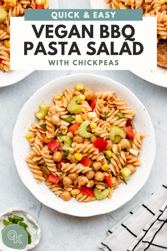 vegan bbq pasta salad on a white plate with pinterest text on top
