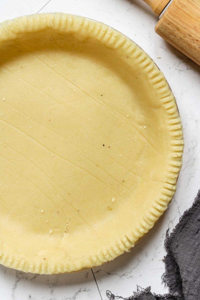 close up shot of vegan almond flour pie crust