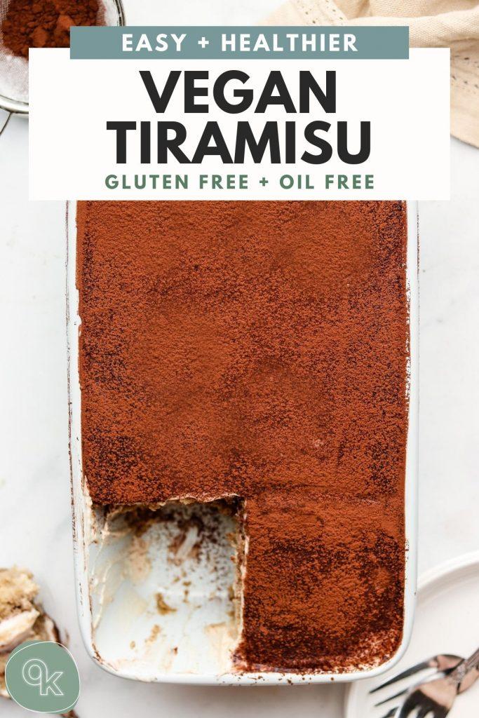 vegan tiramisu in a blue loaf pan with pinterest text overlay