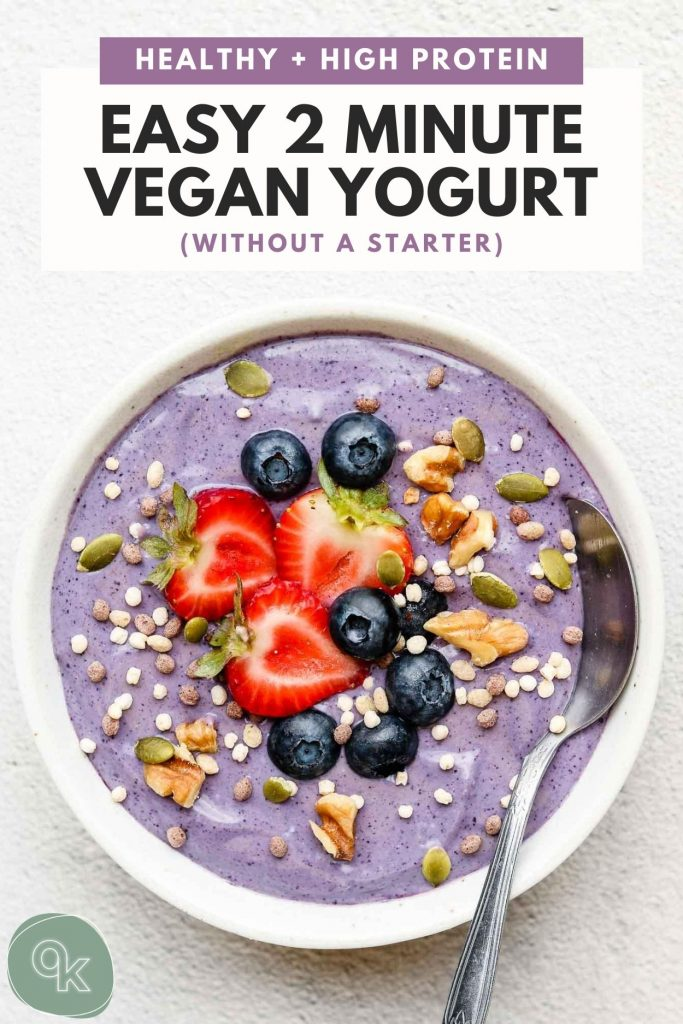 vegan yogurt made with tofu in a bowl with pinterest text